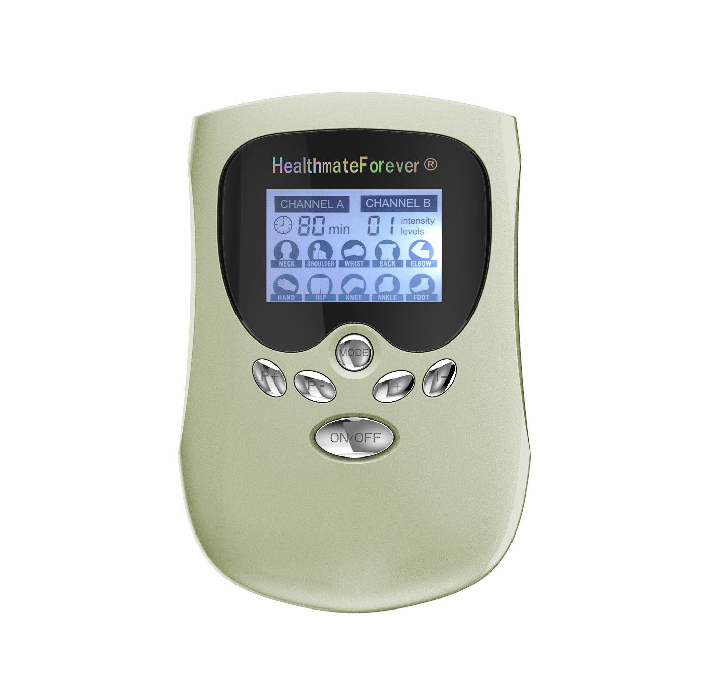 PM10AB HealthmateForever TENS Unit Electrical Muscle Stimulator Green + 5 Pairs of Pads