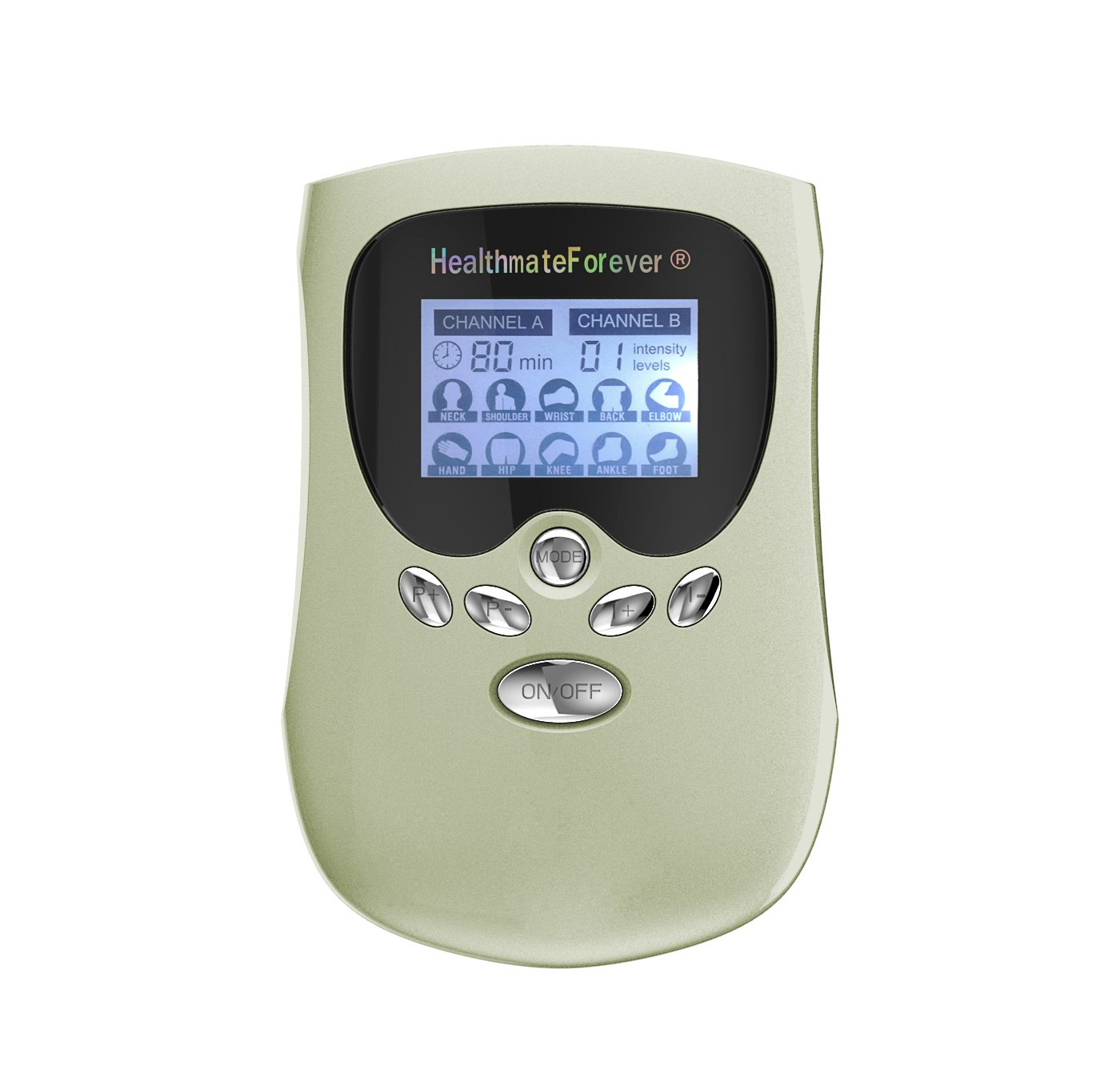 PM10AB HealthmateForever TENS Unit Electrical Muscle Stimulator Green + 4in1 Leads Wire and 1 Pair o