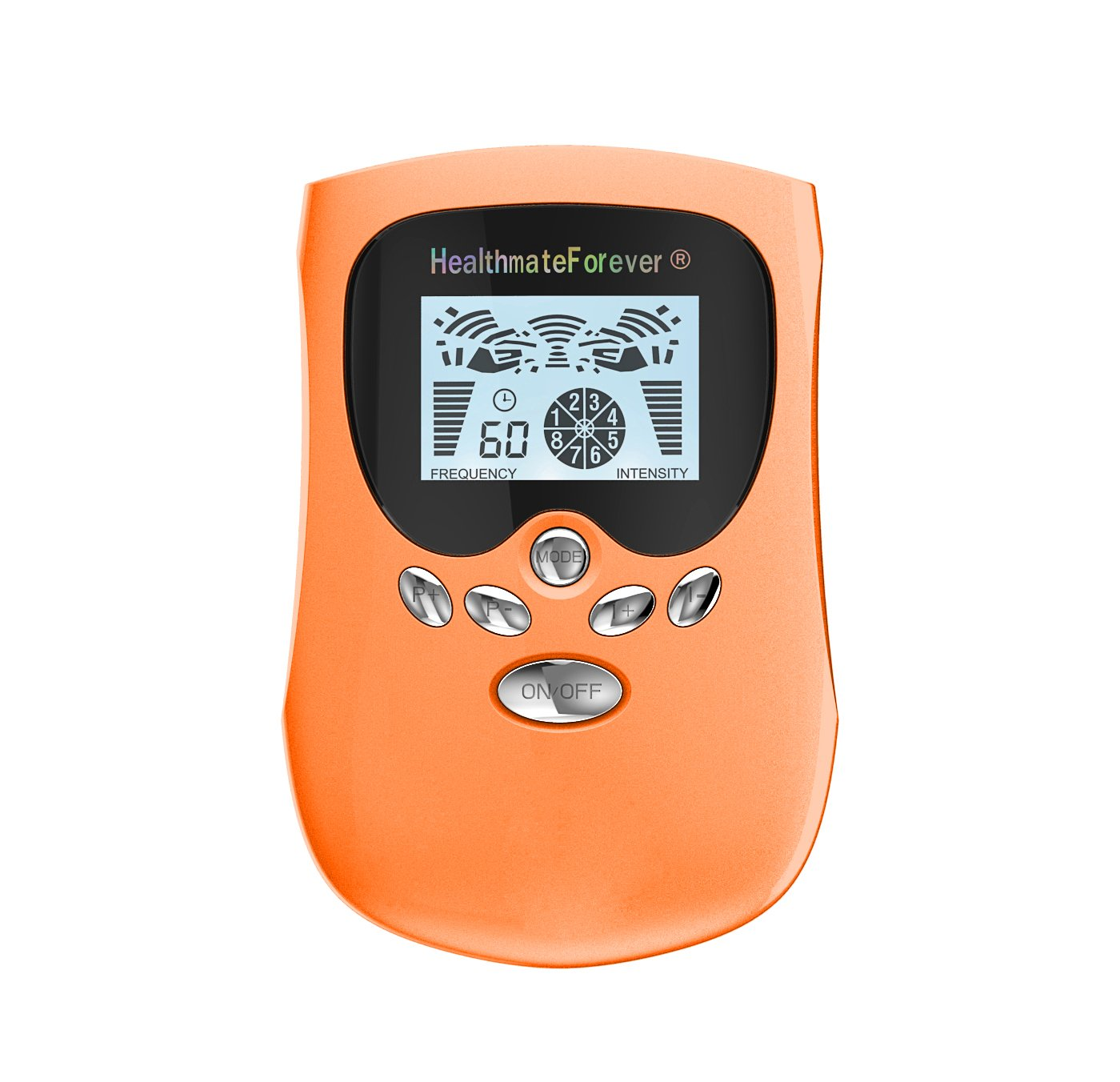 PM8 HealthmateForever TENS Unit Electrical Muscle Stimulator Orange + 4in1 Leads Wire and 1 Pair of