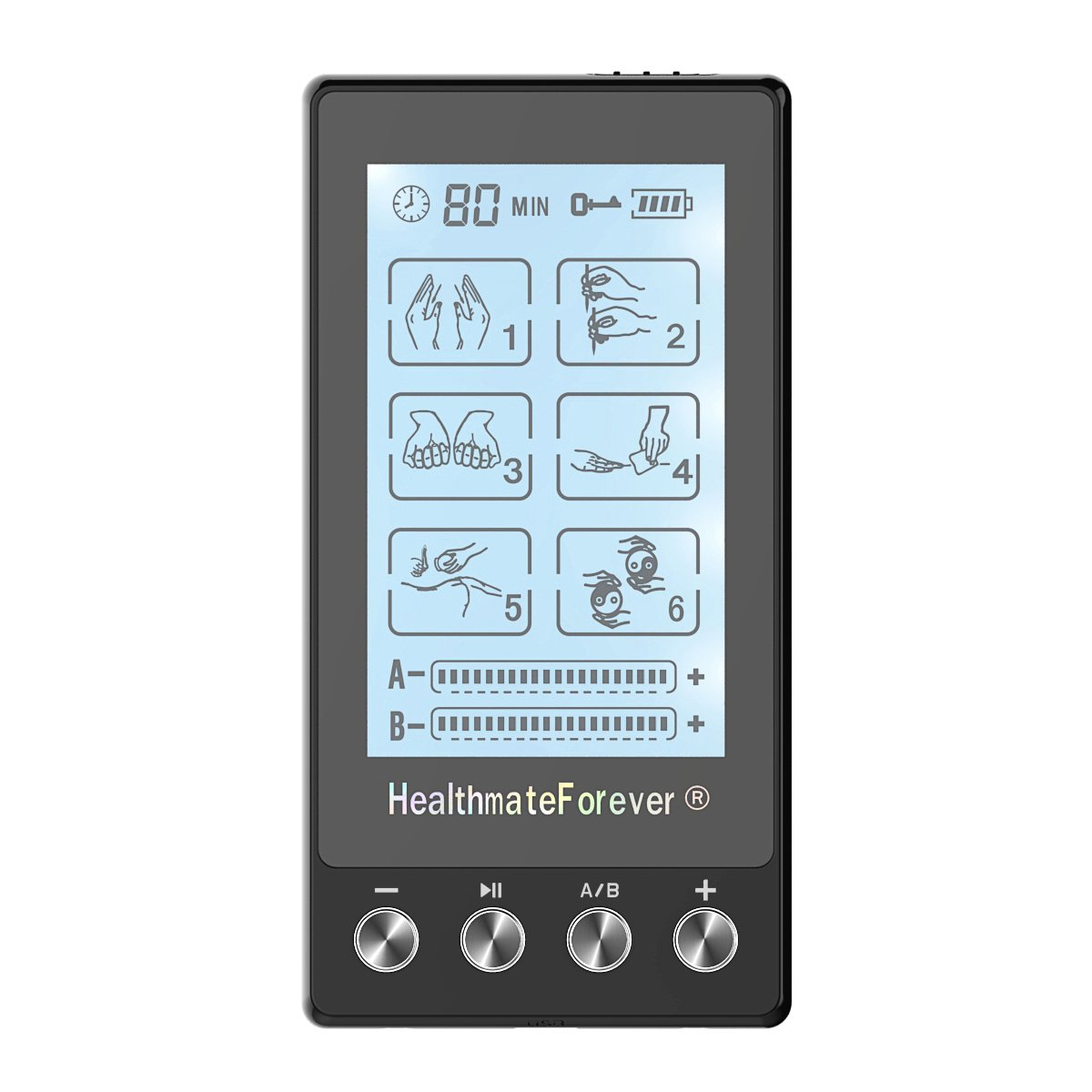 TS6AB HealthmateForever TENS Unit Electrical Muscle Stimulator Black + 2 Pairs of Pads