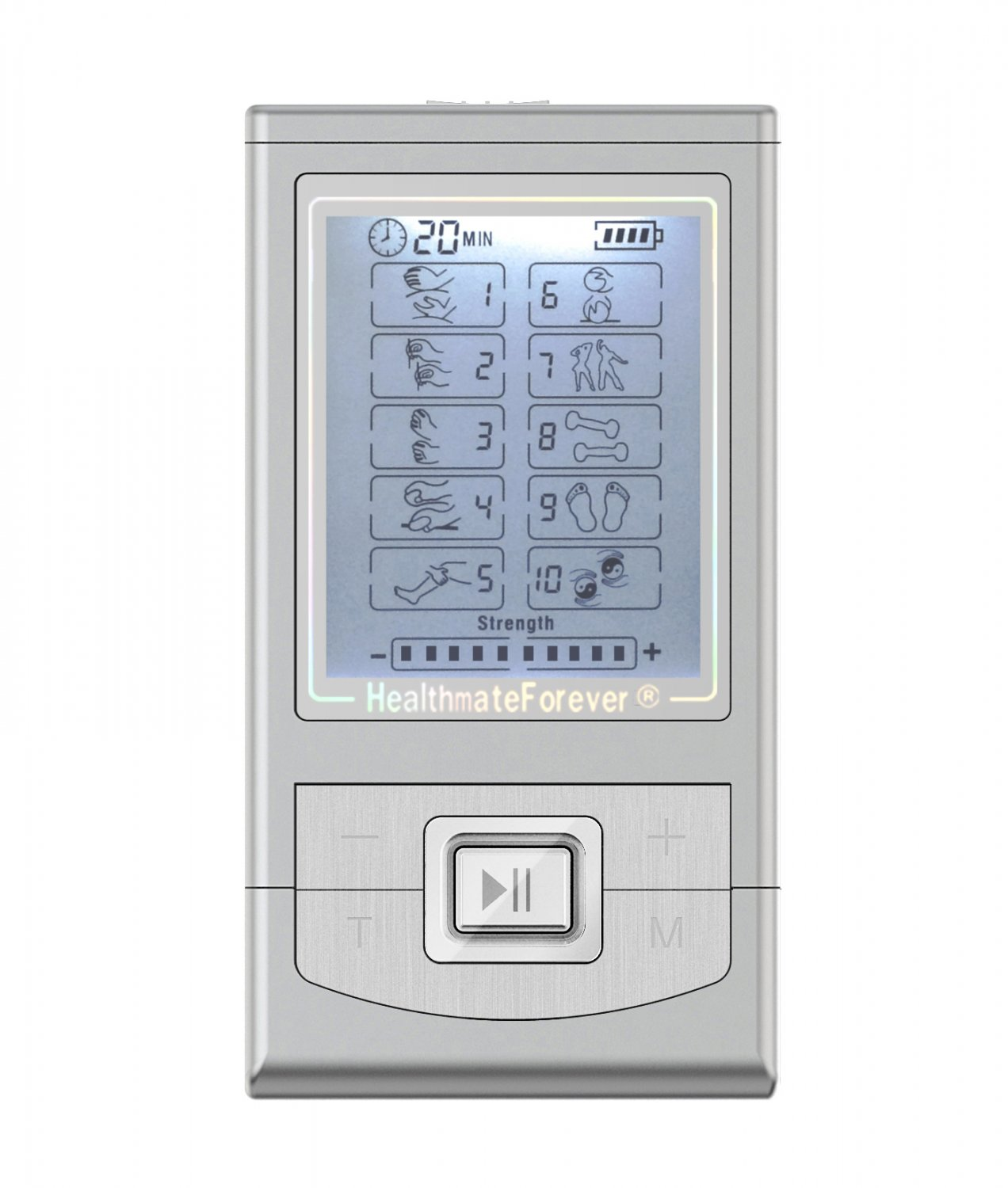 NK10GL HealthmateForever TENS Unit Electrical Muscle Stimulator Silver