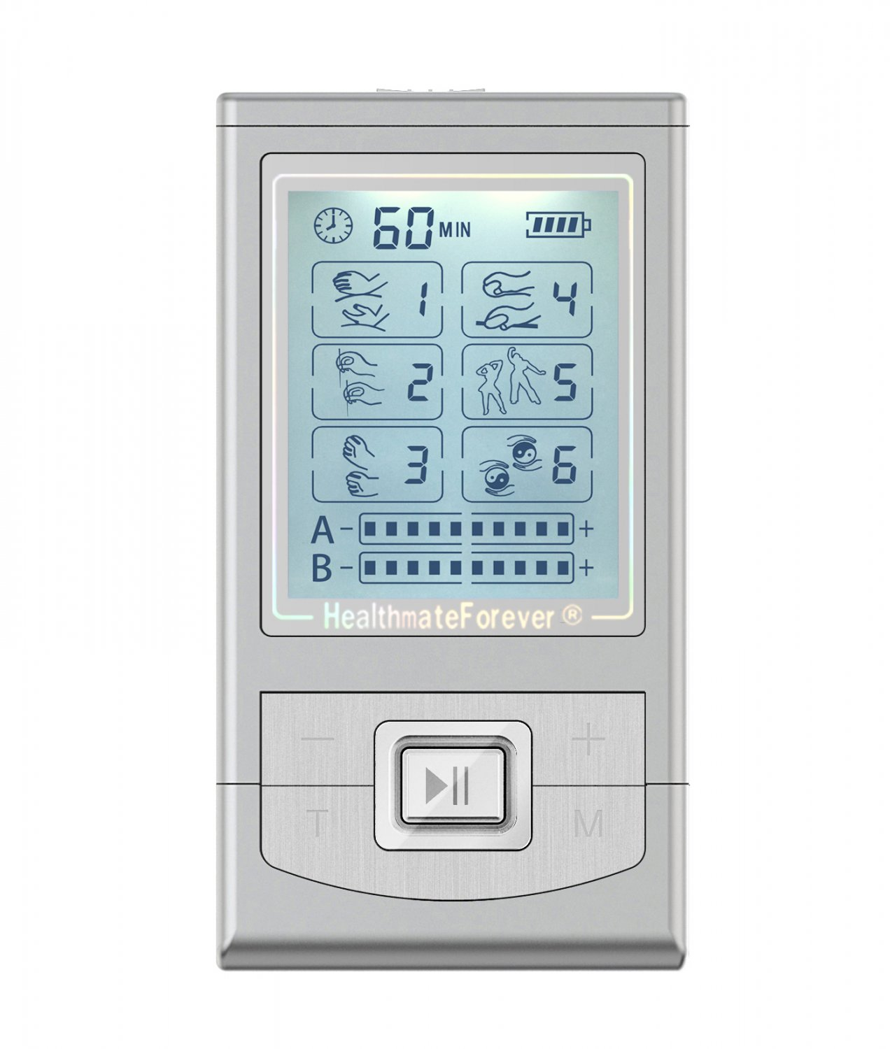 PLUS6AB HealthmateForever TENS Unit Electrical Muscle Stimulator Silver