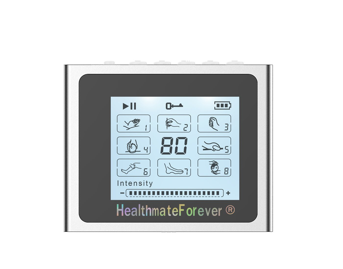 NTS8 HealthmateForever TENS Unit Electrical Muscle Stimulator Silver