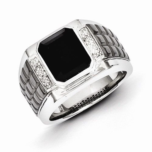 STERLING SILVER ONYX & DIAMOND MEN'S RING - 15 GRAMS  SIZE 10