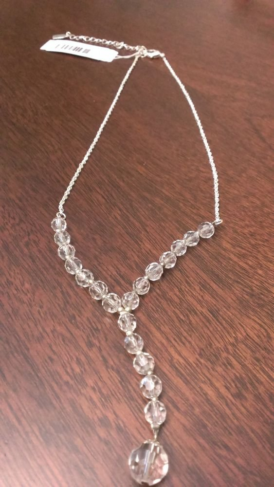 "CLEAR/WHITE CRYSTAL ""Y"" NECKLACE SILVER-TONE W/ ADJUSTABLE LENGTH CHAIN"