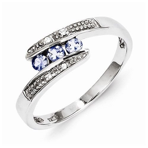 STERLING SILVER 3-STONE CHANNEL-SET 0.2CT NATURAL TANZANITE & DIAMOND RING- Sz 8