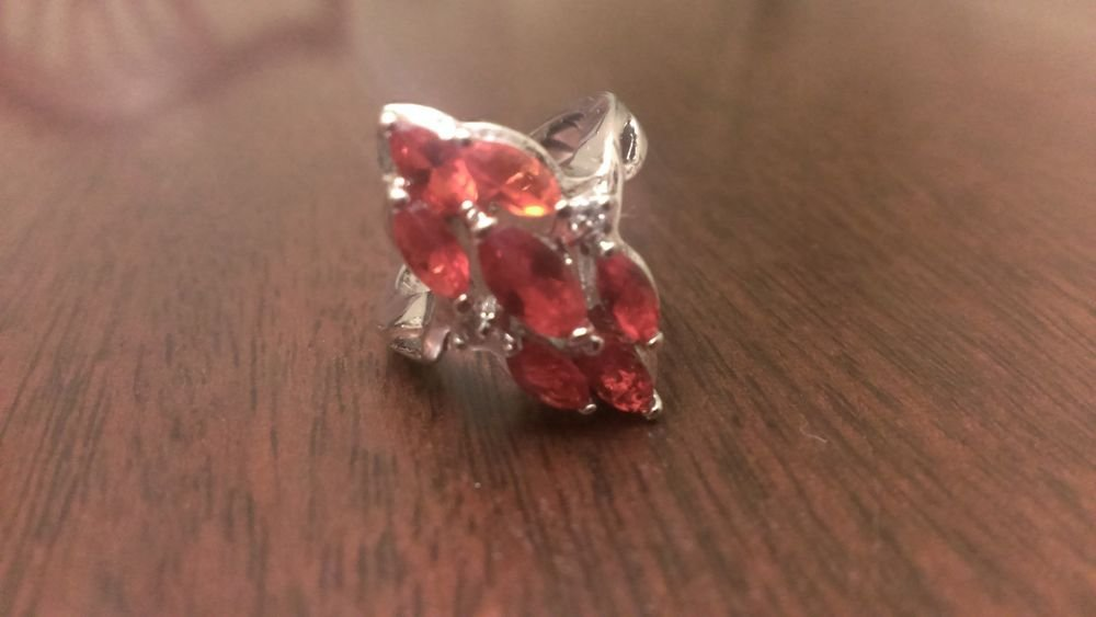 925 STERLING SILVER LARGE CLUSTER COCKTAIL RING WITH RED AND CLEAR/WHITE STONES