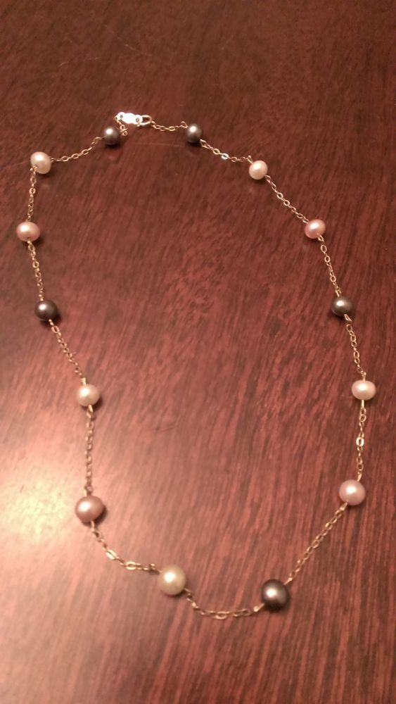 """NATURAL PEARL AND 10K GOLD NECKLACE 15"""""""