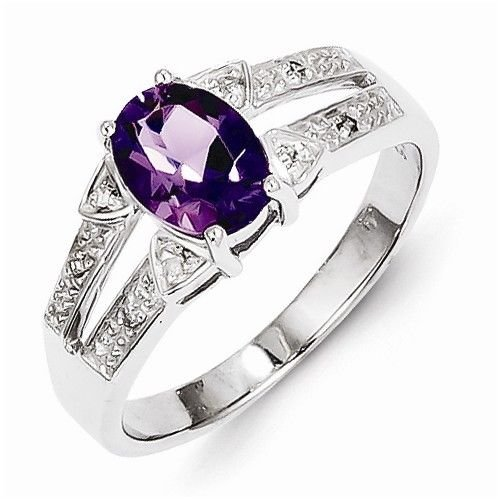 STERLING SILVER NATURAL GENUINE AMETHYST & DIAMOND ACCENT RING - SIZE 6