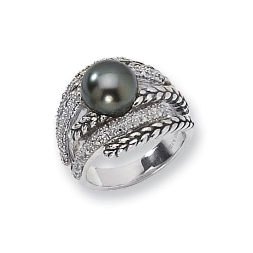 ANTIQUED STERLING SILVER 10mm TAHITIAN PEARL & DIAMOND RING -  SIZE 8