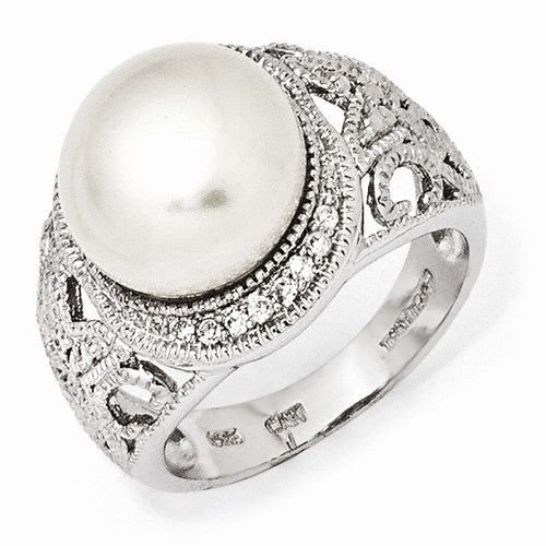 STERLING SILVER SCROLL/FILIGREE FRESHWATER PEARL & CZ RING - SIZE 6