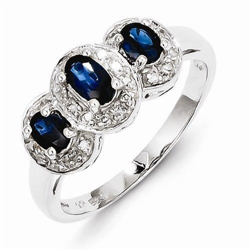 STERLING SILVER GENUINE 0.6CT 3-STONE BLUE SAPPHIRE & DIAMOND RING - SIZE 7