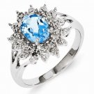 STERLING SILVER 1.3CT NATURAL SWISS BLUE TOPAZ & DIAMOND ACCENT RING - Sz 7