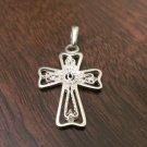 925 STERLING SILVER OPEN/FILIGREE CROSS CHARM/PENDANT - RELIGIOUS JESUS