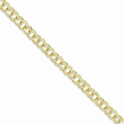 """10K YELLOW GOLD 7mm  SOLID DOUBLE LINK CHARM BRACELET  8"""""""