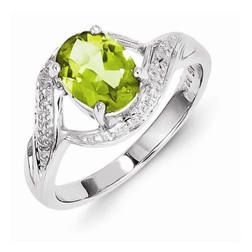 STERLING SILVER NATURAL GENUINE 1.25CT GREEN PERIDOT & DIAMOND RING