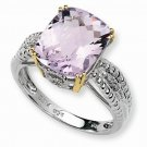 STERLING SILVER & 14K GOLD GENUINE 4.75CT LIGHT AMETHYST & DIAMOND RING - SIZE 6