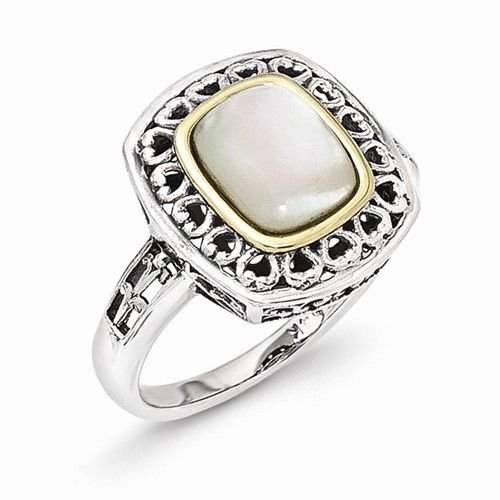 ANTIQUED STERLING SILVER & 14K GOLD MOP/MOTHER OF PEARL RING -  SIZE 7