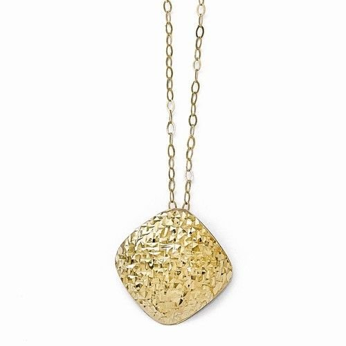10K YELLOW GOLD STYLISH CONTEMPORARY PENDANT & CHAIN NECKLACE -  ITALY - 17.5""