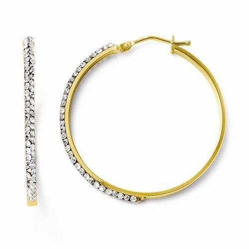 14K GOLD SWAROVSKI CRYSTAL MEDIUM HOOP EARRINGS / HOOPS  ITALY 2.2 grams  2x33mm