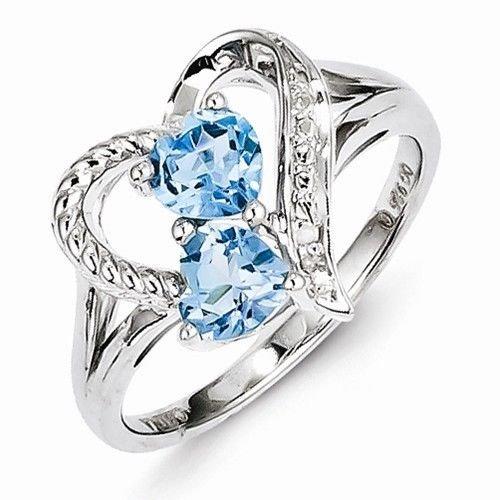 STERLING SILVER 1.16CT GENUINE BLUE TOPAZ & DIAMOND HEART RING - SIZE 7