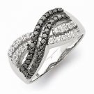 """STERLING SILVER POLISHED BLACK AND CLEAR CZ """" X """" RING  -  SIZE 6"""