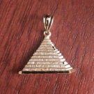 14K SOLID YELLOW GOLD PYRAMID CHARM PENDANT - 2.4  GRAMS