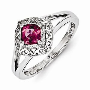 STERLING SILVER POLISHED SCROLL DESIGN 1/2 CT  PINK TOURMALINE RING - SIZE 8