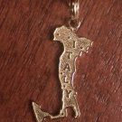14K YELLOW GOLD TEXTURED MAP OF ITALY CHARM / PENDANT -  1 INCH  0.9 GRAMS