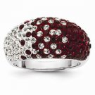 STERLING SILVER ALABAMA CRIMSON & WHITE CRYSTALS SPIRIT RING - SIZE 7
