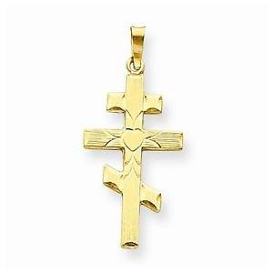 14K YELLOW GOLD EASTERN ORTHODOX CROSS CHARM / PENDANT  RELIGIOUS -