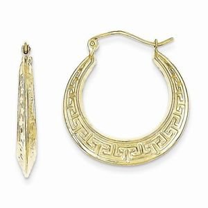 10K YELLOW GOLD SMALL GREEK KEY  HOOP EARRINGS  POLISHED HOLLOW HOOPS (3x17mm)