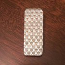 SOLID STERLING SILVER TEXTURED WEAVE  DESIGN MONEY CLIP - 9 GRAMS