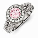 STERLING SILVER ROUND PINK & WHITE CZ HALO RING  - SIZE 8