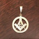 14K YELLOW GOLD MASON/FREEMASON/MASONIC PENDANT CHARM -  2.2 GRAMS