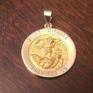 "14K YELLOW GOLD SAINT/ST. MICHAEL MEDAL CHARM PENDANT  RELIGIOUS  (1.9 GM  1.3"")"