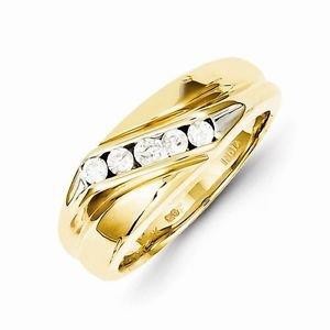 14K YELLOW GOLD 5-STONE 1/3 CT DIAMOND MEN'S RING/BAND - 7.5 GRAMS  SIZE 10