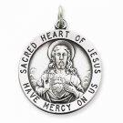 ANTIQUED STERLING SILVER SACRED HEART OF JESUS MEDAL CHARM PENDANT- 5 GRAMS