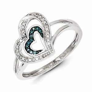 STERLING SILVER .08CT BLUE AND WHITE DIAMOND DOUBLE  HEART RING - SIZE 6