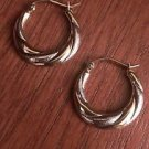 NEW 10K TWO TONE GOLD SMALL TEXTURED TWIST HOOP EARRINGS  HOLLOW HOOPS (3x20mm)