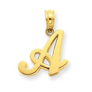 """14K SOLID YELLOW GOLD LETTER """" A """" SCRIPT INITIAL PENDANT CHARM - 0.8 GRAM"""