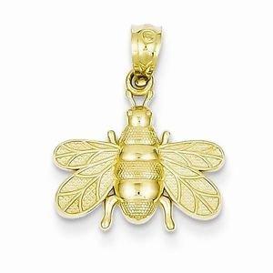 14K YELLOW GOLD SMALL POLISHED BEE  PENDANT / CHARM - 0.8 GRAMS