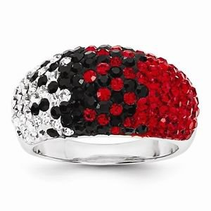 STERLING SILVER GEORGIA BULLDOGS  RED & BLACK CRYSTALS SPIRIT RING - SIZE 8