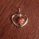 14K YELLOW GOLD SMALL LADYBUG IN HEART CHARM / PENDANT  -  MADE IN ITALY -