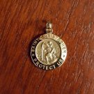 14K SOLID GOLD SMALL SAINT/ST CHRISTOPHER MEDAL CHARM PENDANT  RELIGIOUS - 0.9""