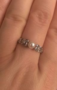 STERLING SILVER FRESHWATER PEARL AND DIAMOND HEART / HEARTS RING - SIZE 8