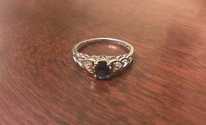 STERLING SILVER GENUINE 0.6CT  BLUE SAPPHIRE & DIAMOND HEART RING - SIZE 6