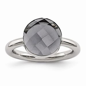 STAINLESS STEEL POLISHED CHECKERBOARD CUT GREY GLASS RING - SIZE 6
