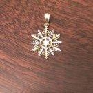 10K GOLD TWO-TONE DIAMOND CUT SNOWFLAKE CHARM / PENDANT  -  0.7 GM