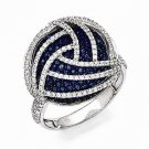 STYLISH STERLING SILVER BLUE & CLEAR CZ ROUND CIRCLE CLUSTER SWIRL RING - SIZE 6